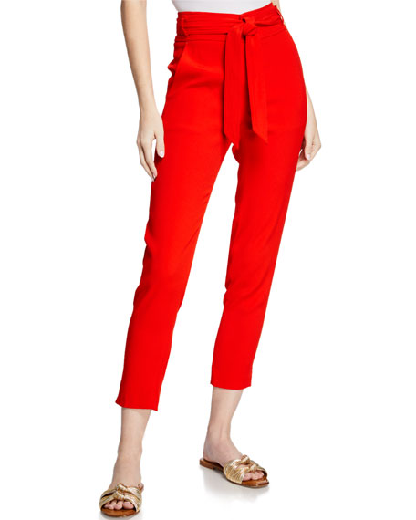 Image 1 of 3: Veronica Beard Faxon Belted Skinny Cropped Pants