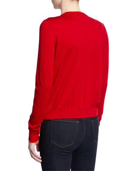 Neiman Marcus Cashmere Collection Superfine Button-Front Shrunken Cashmere-Blend Cardigan w/ Contrast Trim