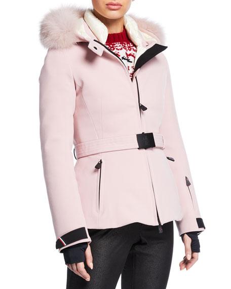 Moncler Grenoble Bauges Belted Jacket w/ Removable Fur Trim