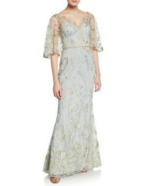 5897839c Marchesa Notte Floral-Embroidered V-Neck Mermaid Gown with Cape Illusion