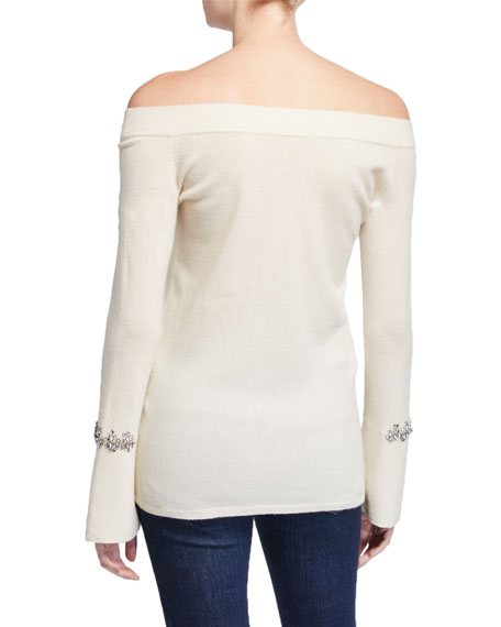 Neiman Marcus Cashmere Collection Cashmere Off-the-Shoulder Long-Sleeve Embellished Sweater