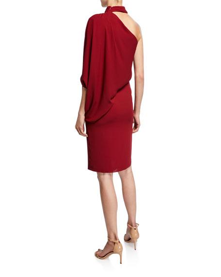 Halston One-Shoulder Wrap-Neck Asymmetric Draped Dress