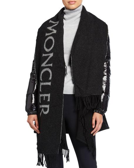 Moncler Puffer-Sleeve Wool Scarf Jacket