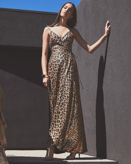 Aidan by Aidan Mattox Leopard Sequin Sleeveless Wrap Dress