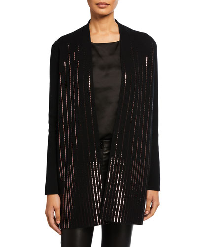 Cashmere Sequin Rows Long-Sleeve Cardigan