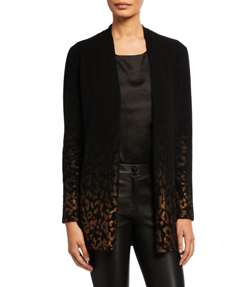 Neiman Marcus Cashmere Collection Cashmere Metallic Leopard Open-Front Cardigan