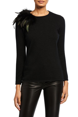 Neiman Marcus Cashmere Collection Cashmere Feather Shoulder Long-Sleeve Crewneck Sweater