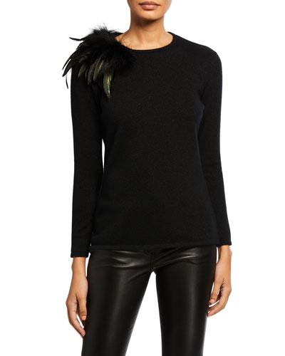 Cashmere Feather Shoulder Long-Sleeve Crewneck Sweater