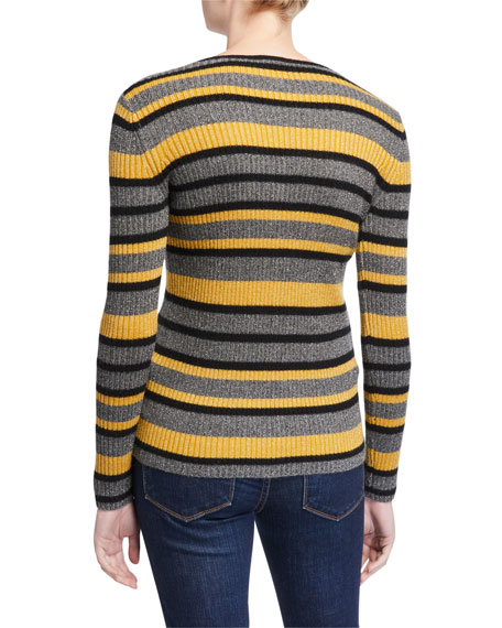Image 3 of 3: Neiman Marcus Cashmere Collection Cashmere Metallic Striped V-Neck Rib Sweater