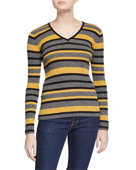 Image 1 of 3: Neiman Marcus Cashmere Collection Cashmere Metallic Striped V-Neck Rib Sweater