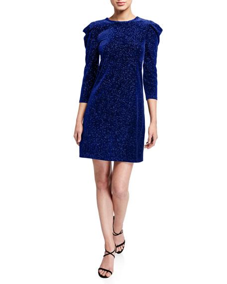 MICHAEL Michael Kors Glitter Velvet Puff-Sleeve Shift Dress