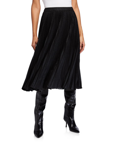 MICHAEL Michael Kors Foil Cat Pleated Midi Skirt