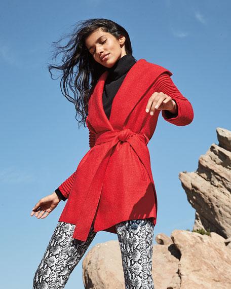 Sentaler Superfine Alpaca Ribbed Long-Sleeve Oversized-Collar Wrap Coat