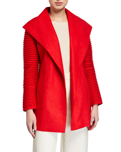 Superfine Alpaca Ribbed Long-Sleeve Oversized-Collar Wrap Coat