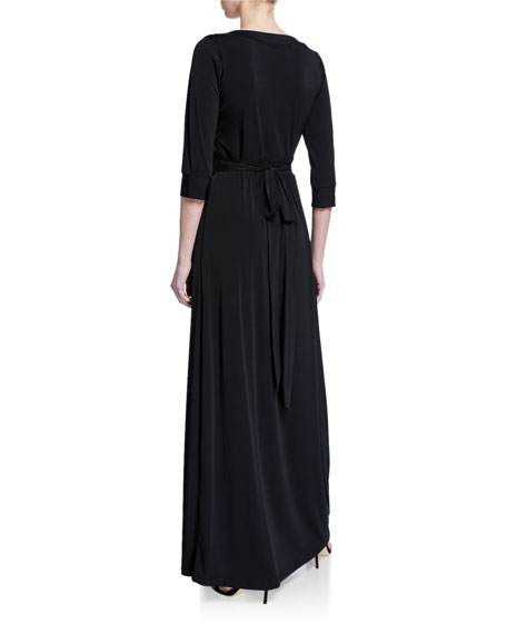 Melissa Masse Plus Size Luxe Jersey 1/2-Sleeve Maxi Dress