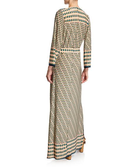Melissa Masse Geo-Print Classic Caftan Maxi Dress