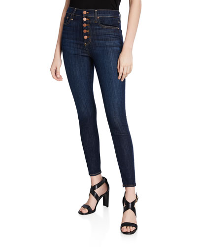 Good High-Rise Exposed Button Skinny Jeans