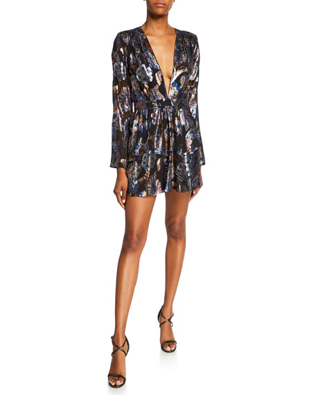 Ramy Brook Shaina Metallic Jacquard Cocktail Dress