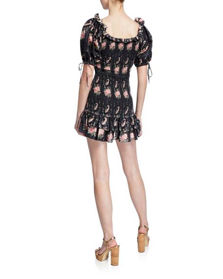 LoveShackFancy Violet Smocked Puff-Sleeve Mini Dress