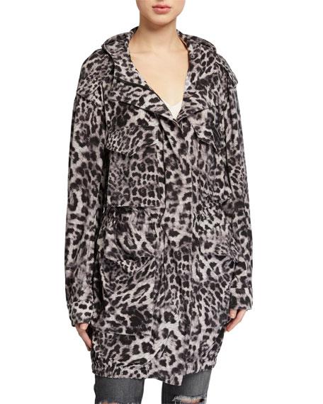Norma Kamali Hooded Leopard-Print Cargo Jacket