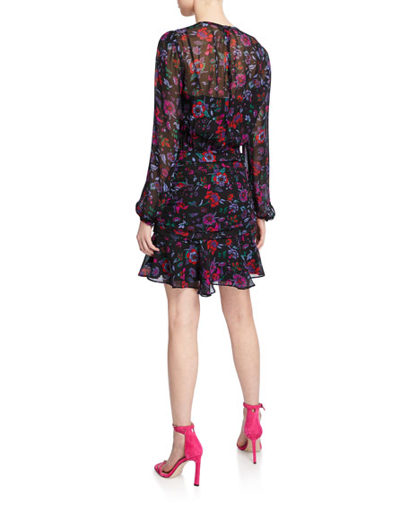 Veronica Beard Robin Floral-Print Long-Sleeve Silk Short Dress