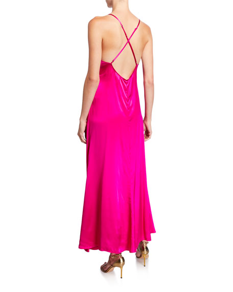 Image 2 of 2: Nightcap Clothing Getaway V-Neck Cross-Back Satin Slip Dress w/ Ruffled Slit