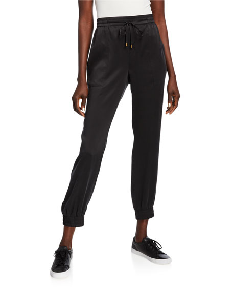 Eileen Fisher Silk Charmeuse Drawstring Ankle Pants