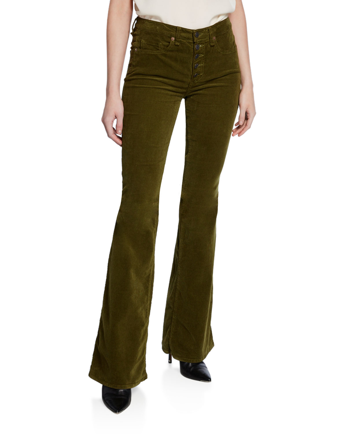 Veronica Beard Beverly High-Rise Flare Corduroy Jeans