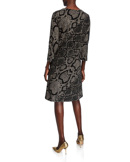 Caroline Rose Petite Snake-Print 3/4-Sleeve Ottoman Knit Dress