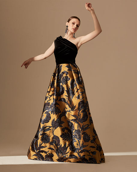 Image 2 of 3: Theia Couture One-Shoulder Velvet Bodice & Silk Lame Jacquard Skirt Gown