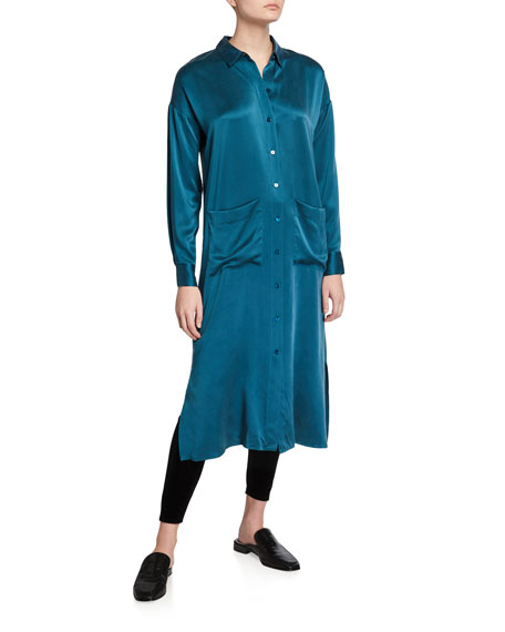 Eileen Fisher Long Sandwash Silk Charmeuse Shirtdress