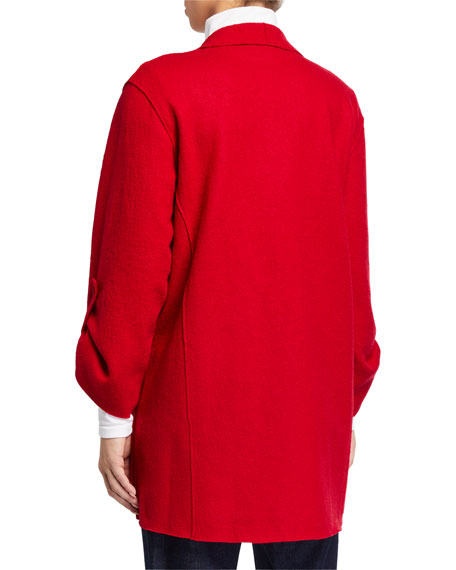 Eileen Fisher Plus Size Lightweight Boiled Wool Coat, Garnet