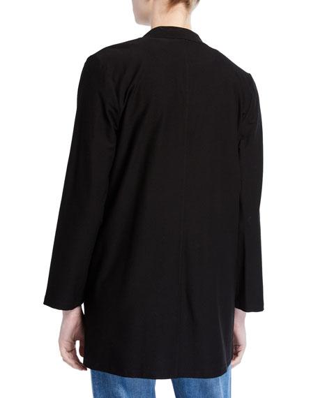 Eileen Fisher Washable Crepe Button-Front Bracelet-Sleeve Jacket
