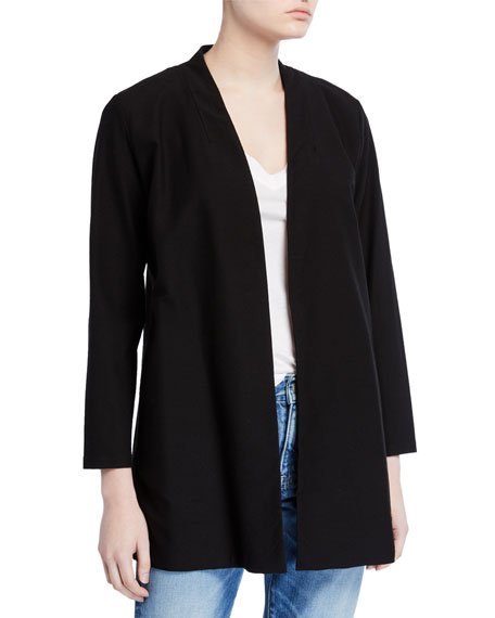 Image 1 of 2: Eileen Fisher Washable Crepe Button-Front Bracelet-Sleeve Jacket