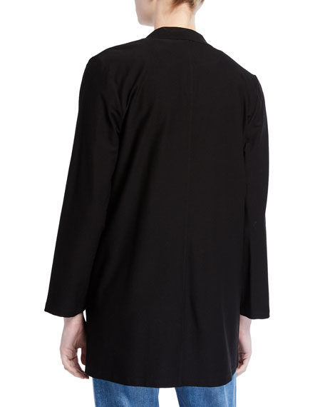 Eileen Fisher Petite Washable Crepe Button-Front Bracelet-Sleeve Jacket