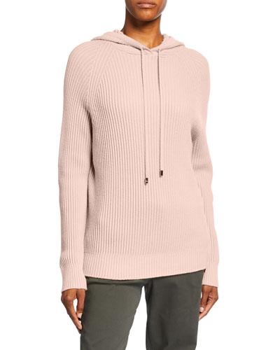 Ribbed Wool Hooded Long-Sleeve Sweater