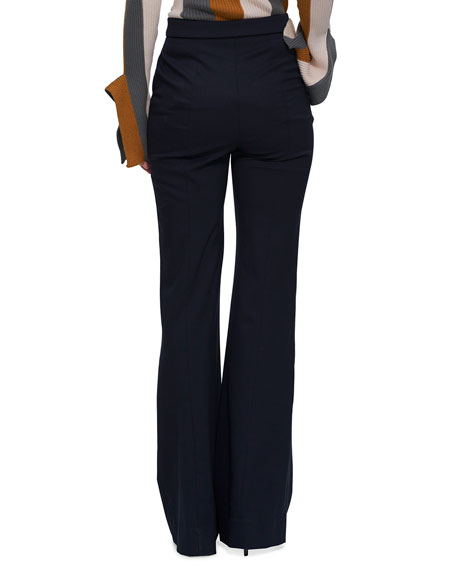 palmer//harding Fused Flared Trousers with Button Details