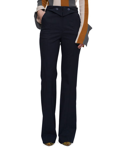 Fused Flared Trousers with Button Details