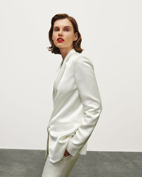 Image 2 of 4: Helmut Lang Two-Button Satin Blazer