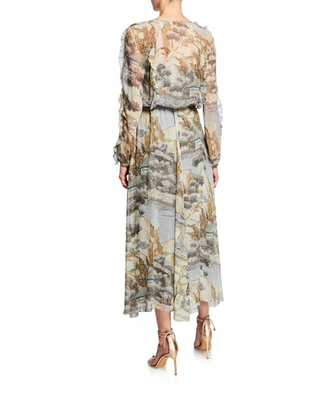 REDValentino Paysage Chinois V-Neck Long-Sleeve Dress