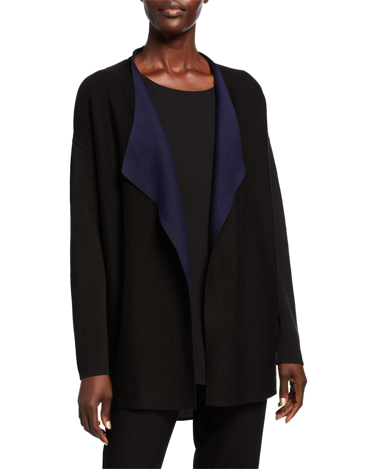 Silk/Organic Cotton Piped Cascade Front Cardigan by Eileen Fisher