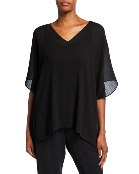 Eileen Fisher Pleated Chiffon V-Neck Drop Sleeve Top