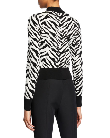 A.L.C. Lola Animal-Print Mock-Neck Sweater