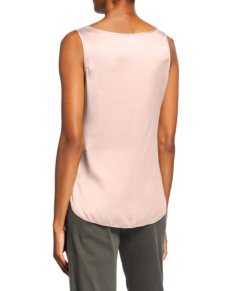 Max Mara Leisure Scoop-Neck Silk Satin Shell
