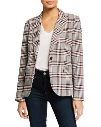 Plaid One-Button Blazer w/ Pockets