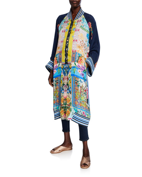 Johnny Was Reversible Long Fiori Silk Twill Kimono with Striped Band Trim