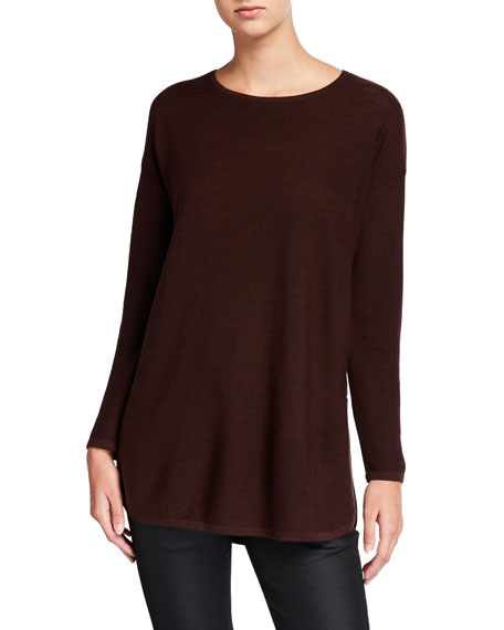 Eileen Fisher Plus Size Merino Wool Crewneck Curved-Hem Links Tunic Sweater