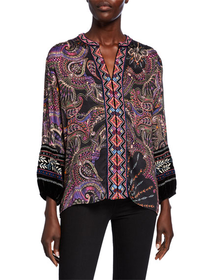 Johnny Was Plus Size Printed Blouse with Front Embroidery & Velvet Trim