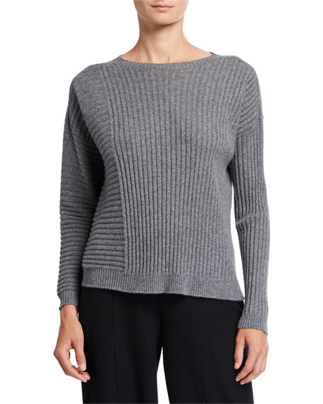 Eileen Fisher Petite Ribbed Italian Cashmere Crewneck Sweater