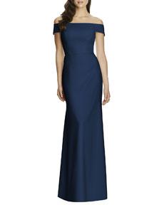 0610165fa3cf8 Dessy Collection Off-the-Shoulder Crepe Gown | Neiman Marcus